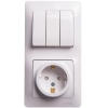 Блок комбинированный GLOSSA розетка защ. шторки с заземл. + выкл. 3-кл. бел. SchE GSL000178