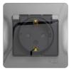 Розетка 1-м СУ алюминий 16 А, с з/к, с прозр. крышкой, з/ш, IP44 Schneider Electric GLOSSA