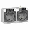 Блок розеточный ОП белый 2-м розетка с з/к з/ш IP44 Schneider Electric Этюд