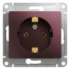 Механизм розеточный 1-м СУ баклажан 16 А, с з/к Schneider Electric GLOSSA