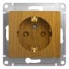 Механизм розеточный 1-м СУ дуб 16 А, с з/к, з/ш Schneider Electric GLOSSA