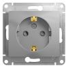 Механизм розеточный 1-м СУ алюминий 16 А, с з/к, з/ш Schneider Electric GLOSSA