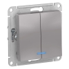 Механизм выключателя 2-кл. СП AtlasDesign 10А IP20 (сх. 5а) 10AX с подсветкой алюм. SchE ATN000353
