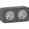 Блок розеточный ОП серый 2-м розетка с з/к з/ш IP55 Schneider Electric Mureva Styl
