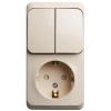 Блок ОП Этюд (1-м розетка с зазем. защ. шторки + 2-кл. выкл.) крем. SchE BPA16-202K