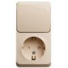 Блок ОП Этюд (1-м розетка с зазем. защ. шторки + 1-кл. выкл.) крем. SchE BPA16-201K