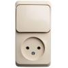 Блок ОП Этюд (1-м розетка без заземл. + 1-кл. выкл.) крем. SchE BPA16-204K