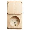 Блок ОП Этюд (1-м розетка с заземл. защ. шторки + 2-кл. выкл.) сосна SchE BPA16-202D