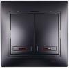 Выключатель 2-кл. 1п СП Мира 10А IP20 с подсветкой со вставкой черн. бархат LEZARD 701-4242-112