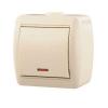 Выключатель 1-кл. ОП Ната 10А IP20 с подсветкой крем. LEZARD 710-0300-111