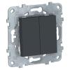 Механизм выключателя 2-кл. 2мод. СП Unica New IP21 (сх. 5) антрацит SchE NU521154