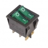 Выключатель клавишный 250В 15А (6с) ON-OFF зел. с подсветкой ДВОЙНОЙ (RWB-511 SC-797) Rexant 36-2412
