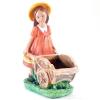 Фигура садовая девочка с тележкой Н-38см, L-30см