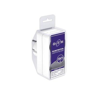 Разветвитель электрический (двойник) ФОТОН АМ 6-2, 6А белый