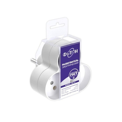 Разветвитель электрический (тройник) ФОТОН АМ 6-3, 6А белый