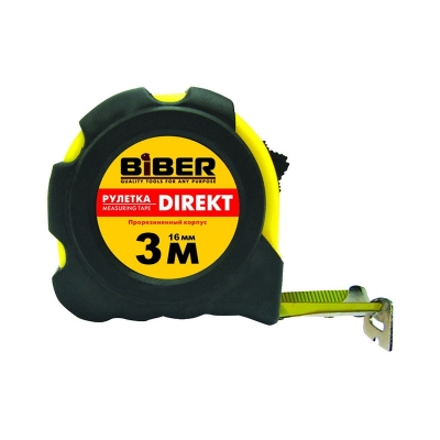 Рулетка 3 м/16 мм с фиксатором BIBER Direkt