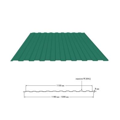 Профнастил С8 0.35 мм 1200х2000 мм зелёный мох (RAL 6005)