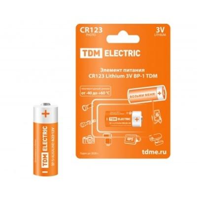 Элемент питания CR123 Lithium BP-1 3 В TDM ЕLECTRIC