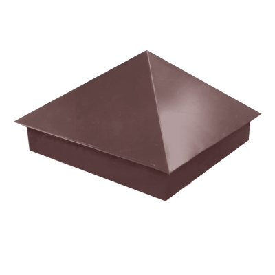 Колпак на столб 390х390 мм коричневый (RAL 8017) 0.45 мм