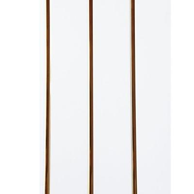 Панель ПВХ 240х3000 мм Софитто парча белая 3 полосы золото выпуклая Центурион