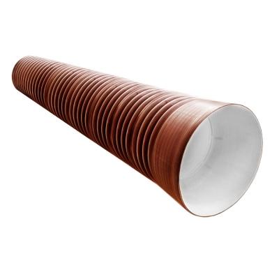Труба гофрированная ПНД 250/218 мм (6 м) с раструбом с кольцом терракот SN8