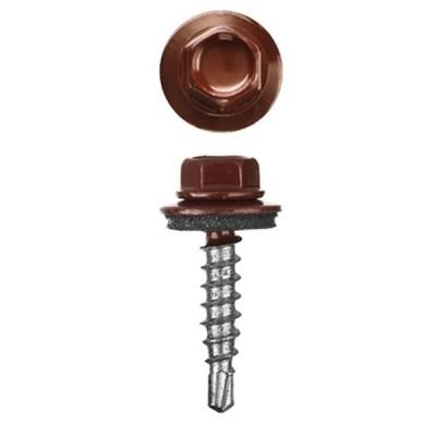 Саморезы (шурупы) кровельные 5.5х19 мм шоколадно-коричневый RAL 8017 (300 шт)