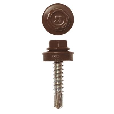Саморезы (шурупы) кровельные 4.8х28 мм шоколадно-коричневый RAL 8017 (300 шт)