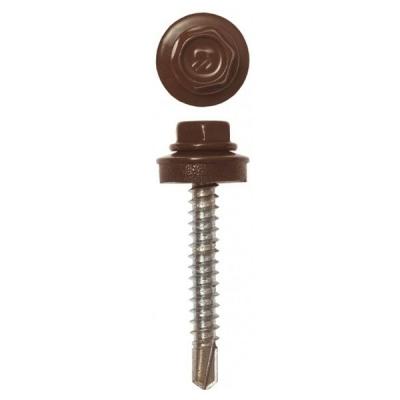Саморезы (шурупы) кровельные 4.8х35 мм шоколадно-коричневый RAL 8017 (60 шт)