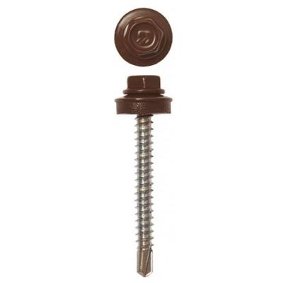 Саморезы (шурупы) кровельные 4.8х51 мм шоколадно-коричневый RAL 8017 (40 шт)