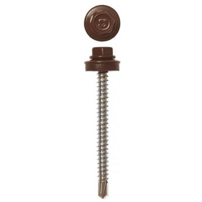 Саморезы (шурупы) кровельные 4.8х70 мм шоколадно-коричневый RAL 8017 (30 шт)