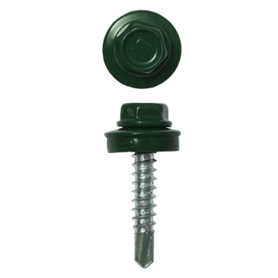 Саморезы (шурупы) кровельные 5.5х19 мм зеленый мох RAL 6005 (70 шт)