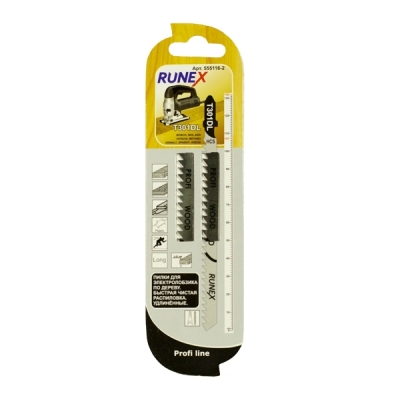 Пилки для электролобзика 132х107 мм по дереву и пластику T301DL RUNEX 2 шт