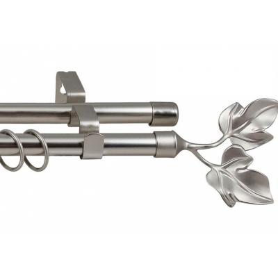 Карниз кованный раздвижной 2-х рядный Legrand d-16/19 мм 1.6-3 м лист серебро-матовый