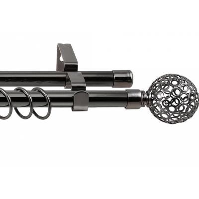 Карниз кованный раздвижной 2-х рядный Legrand d-16/19 мм 1.6-3 м ажур черный никель