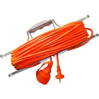 Удлинитель-шнур на рамке UNIVersal УШ-10 оранжевый (1х50 м, ПВС 3х0.75, с крышкой, с/з)