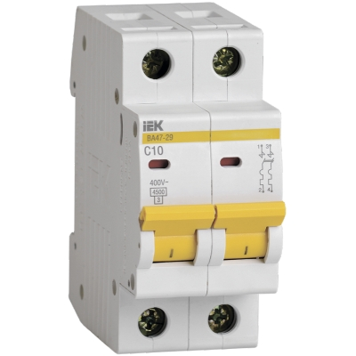 Выключатель автоматический модульный 2П С 10А 4.5 кА ВА47-29 IEK