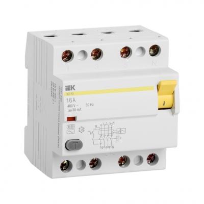 Выключатель дифференциального тока УЗО 4П 16А 30 мА тип A ВД1-63 IEK