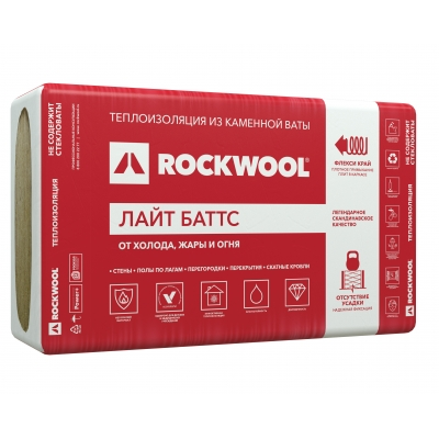Утеплитель ROCKWOOL Лайт Баттс 50х600х1000 мм (6 м²)