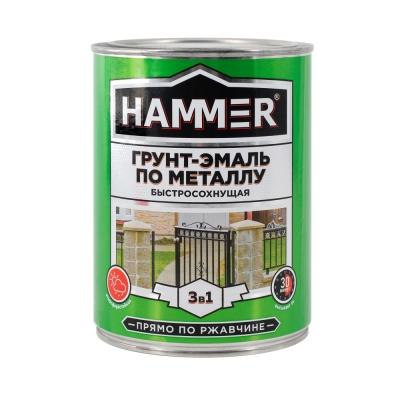 Грунт-эмаль по ржавчине 3в1 HAMMER зеленая 0.9 кг