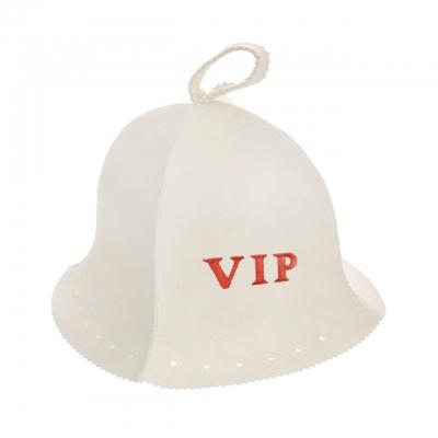 Шапка Люкс белая с вышивкой VIP