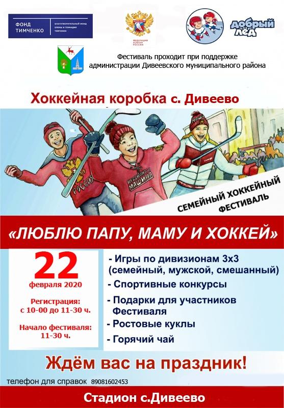 Хоккейный семейный фестиваль пройдет в Дивееве