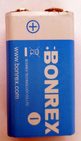 CR9V BONREX, элемент питания, батарейка размера CR 9V, напряжение 9 В, литиевый, 1 шт. в блистере на картон-карте