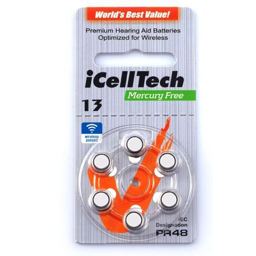 PR48 iCellTech, элемент питания, батарейка размера 10, напряжение 1,45 В, воздушно-цинковый, 6 шт. в блистере на картон-карте
