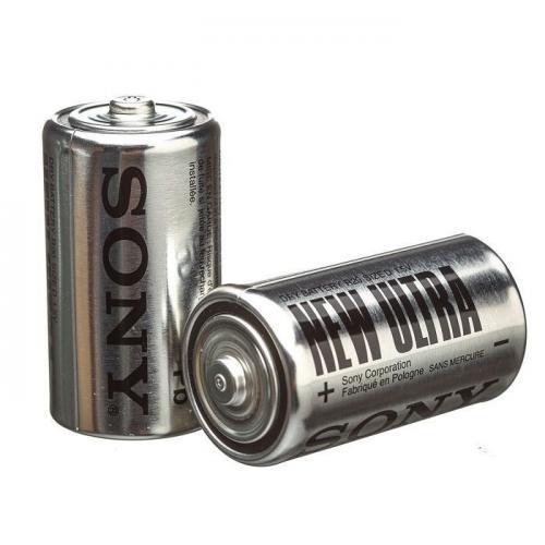 R14 SONY NEW*, элемент питания, батарейка размера C, напряжение 1,5 В, солевой, 2 шт. в плёнке