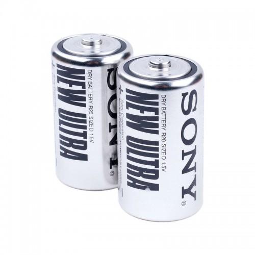 R20 SONY NEW ULTRA, элемент питания, батарейка размера D, напряжение 1,5 В, солевой, 2 шт. в плёнке