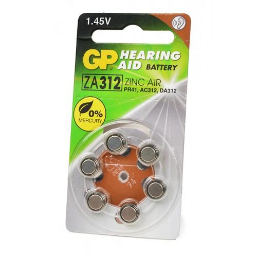 Элемент питания GP Hearing Aid ZA312F-D6 ZA312 BL6