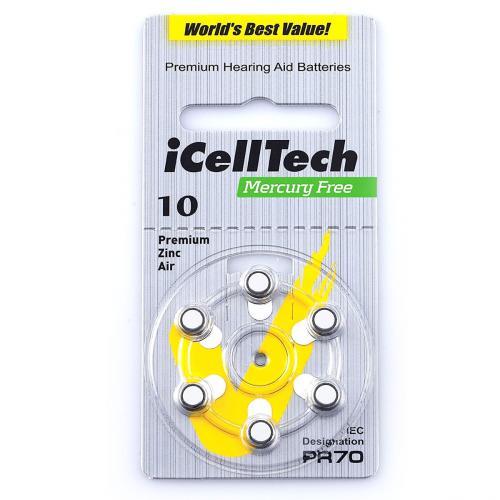 PR70 iCellTech, элемент питания, батарейка размера 10, напряжение 1,45 В, воздушно-цинковый, 6 шт. в блистере на картон-карте