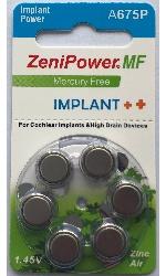 A675P Zenipower Cochlear Implant, элемент питания, батарейка размера 675P, напряжение 1,45 В, воздушно-цинковый, 6 шт. в блистере на картон-карте