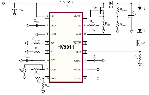 HV9911 высокостабильный драйвер светодиодов