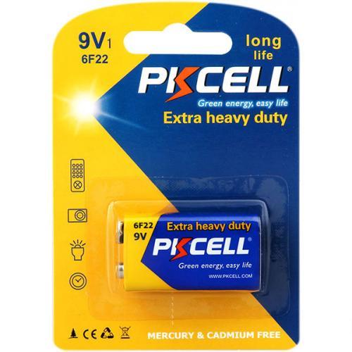 PKCELL 6F22-1B тип – 9V(Крона) 1 шт в блистере, элемент питания солевой